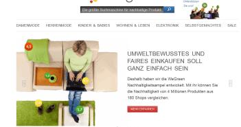 Der Screenshot zeigt die Website von WeGreen mit seiner Suchmaske, mit der sich nachhaltige Produkte finden lassen.