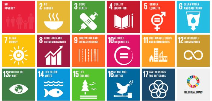 Die Graphik zeigt 18 quadratische Tafeln in verschiedenen Farben. Auf diesen sind die 17 Sustainability Development Goals der Vereinten Nationen zu sehen, zum Beispiel Armut beenden, saubere Energie oder resiliente Städte.,